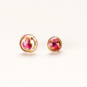 Kolczyki wkrętki srebrne małe pozłacane z różowymi wrzosami 2