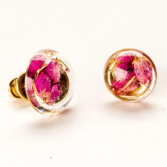 Kolczyki wkrętki srebrne małe pozłacane z różowymi wrzosami