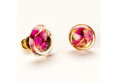 Kolczyki wkrętki srebrne małe pozłacane z różowymi wrzosami 1