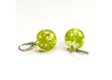 Kolczyki kulki zielone z prawdziwym mchem z żywicy jubilerskiej do letniej sukienki 1