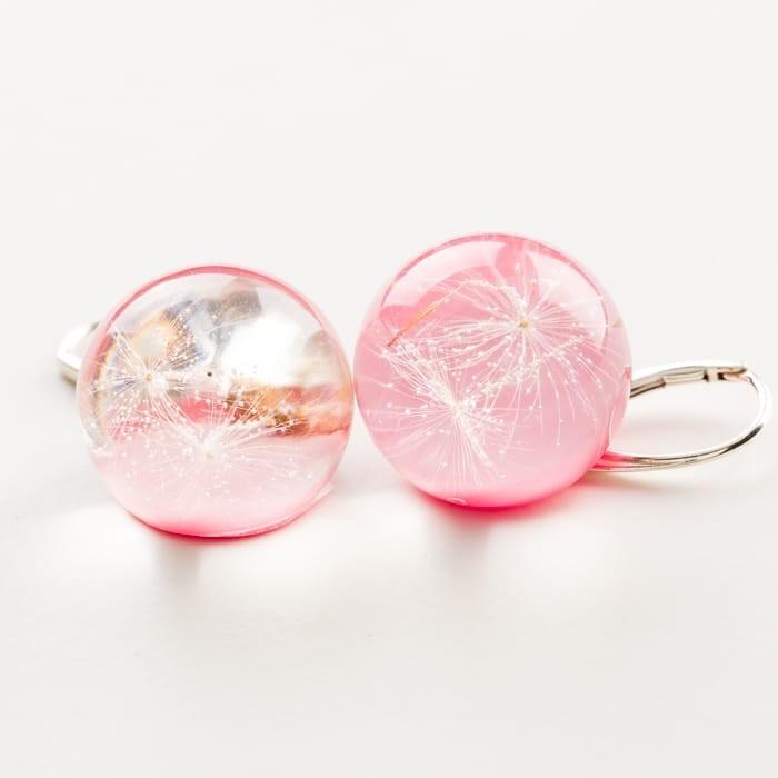 Kolczyki dla dzieci jasno różowe z prawdziwym dmuchawcem