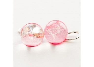 Kolczyki dla dzieci jasno różowe z prawdziwym dmuchawcem 2
