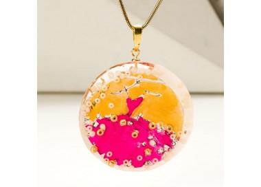 Naszyjnik autorski ze złoto różową zawieszką ręcznie malowaną na pozłacanym łańcuszku   1