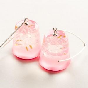 Kolczyki dla dziewczyny srebrne różowe z dmuchawcem 1