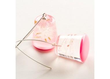 Kolczyki dla dziewczyny srebrne różowe z dmuchawcem