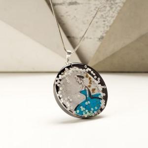 Biżuteria turkusowa z grafiką malowaną ręcznie.1