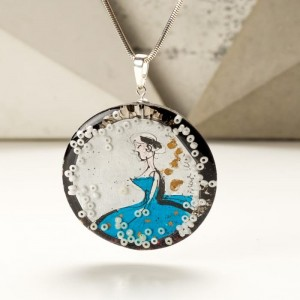 Biżuteria turkusowa z grafiką malowaną ręcznie.
