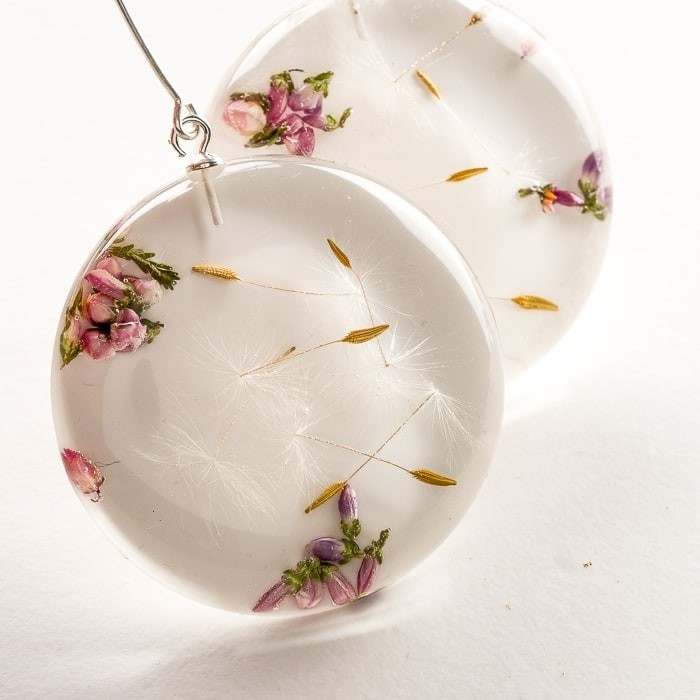 Kolczyki z kwiatami długie koła