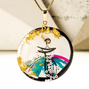 Złoty naszyjnik imie ręcznie wykonany z ręcznie malowaną okrągłą zawieszką 1