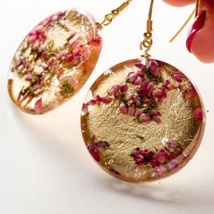 Kolczyki świąteczne złote z wrzosemc1