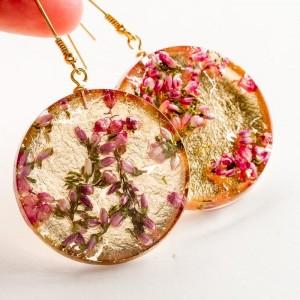 Kolczyki świąteczne złote z wrzosem
