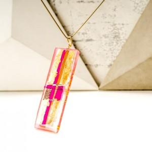Biżuteria z imieniem – złoto różowy naszyjnik ręcznie wykonany na pozłacanym łańcuszku 2