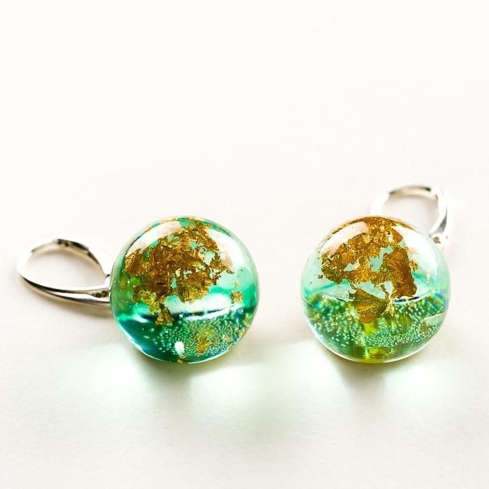 Kolczyki na prezent zielone srebrne kolczyki