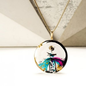 Naszyjnik artystyczny ręcznie malowany pozłacany różowo-turkusowy 2
