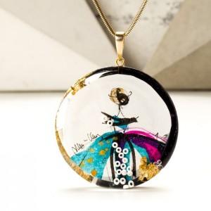 Naszyjnik artystyczny ręcznie malowany pozłacany różowo-turkusowy 1