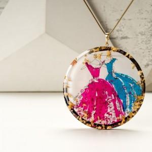 Naszyjnik z grawerem artystyczny ręcznie wykonany różowo turkusowy 33