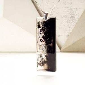 Ręcznie wykonany artystyczny prostokątny duży czarno srebrny naszyjnik  2