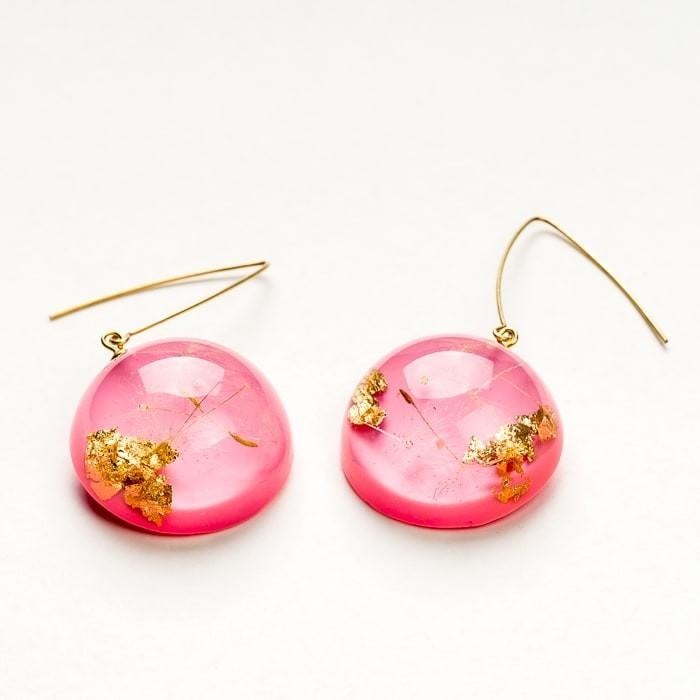 Kolczyki do ucha pozłacane różowe długie wiszące