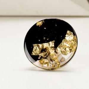 Broszka artystyczna czarno - złota elegancka stylowa 2