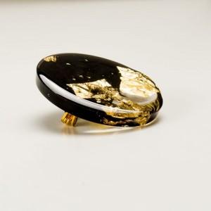 Broszka artystyczna czarno - złota elegancka stylowa 1