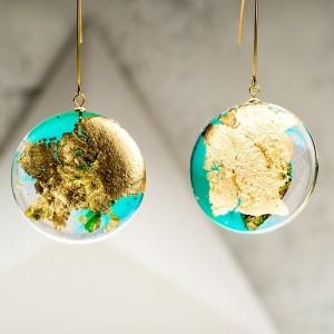 Kolczyki złote wiszące długie koła zielone 1
