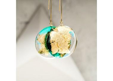 Kolczyki złote wiszące długie koła zielone
