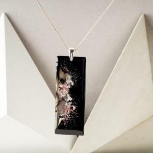 biżuteria artystyczna Naszyjnik czarno srebrny artystyczny