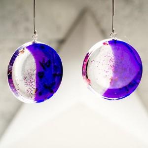 Oryginalne kolczyki srebrne fioletowe koła z wrzosem