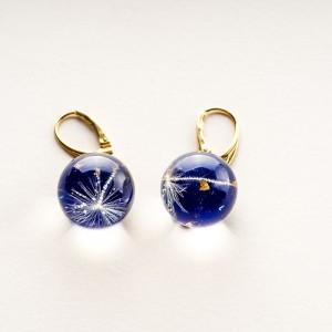Kolczyki srebrne kulki pozłacane niebieskie z dmuchawcem 1