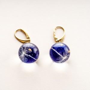 Kolczyki srebrne kulki pozłacane niebieskie z dmuchawcem