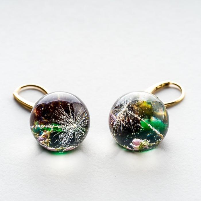 Srebrne kolczyki koła pozłacane zielone kolczyki z dmuchawcem