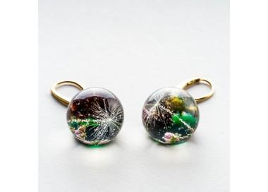Srebrne kolczyki koła pozłacane zielone kolczyki z dmuchawcem 1