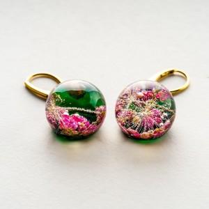 Złote kolczyki kółka zielone różowe kolczyki 1
