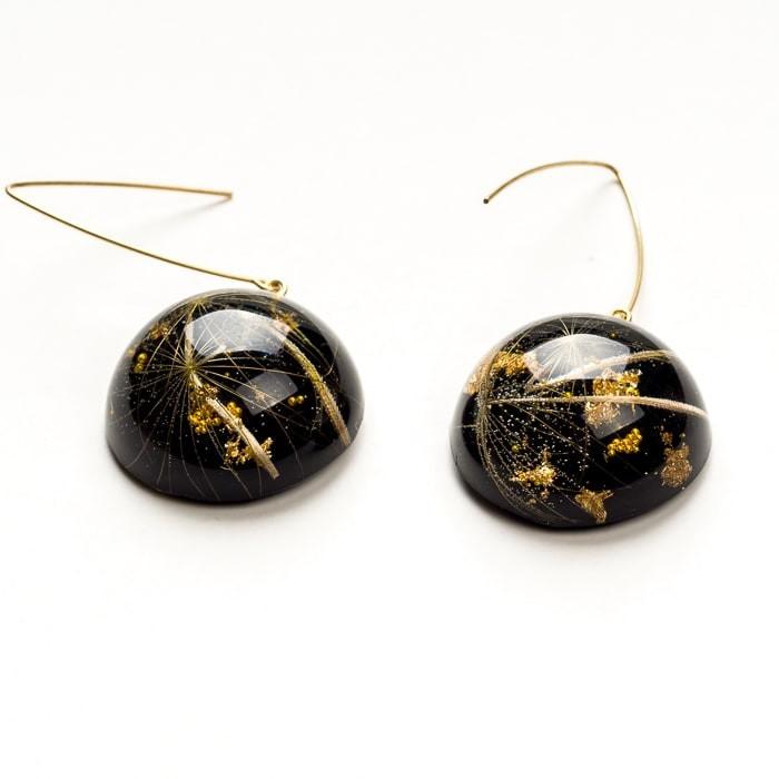 Kolczyki srebrne pozłacane czarne z dmuchawcem