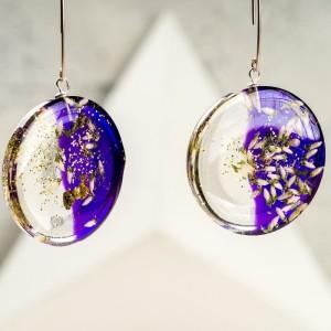 Kolczyki srebrne koła z fioletowym tłem i białym wrzosem 2