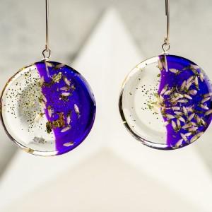 Kolczyki srebrne koła z fioletowym tłem i białym wrzosem