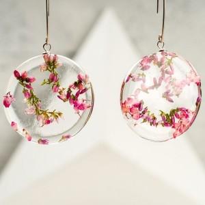 Kolczyki damskie srebrne z kwiatami wrzosu