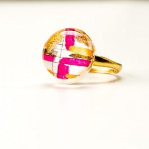 Pierścionek artystyczny srebrny pozłacany z ręcznie malowanym złoto różowym oczkiem, regulowany 4