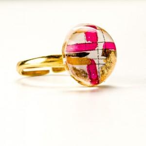 Pierścionek artystyczny srebrny pozłacany z ręcznie malowanym złoto różowym oczkiem, regulowany