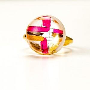 Pierścionek artystyczny srebrny pozłacany z ręcznie malowanym złoto różowym oczkiem, regulowany 1
