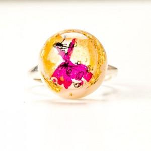 Pierścionek artystyczny ręcznie malowany ze złoto - różowym oczkiem 2