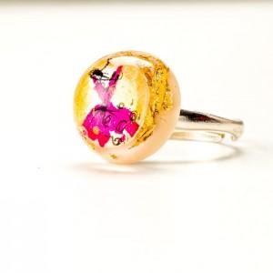 Pierścionek artystyczny ręcznie malowany ze złoto - różowym oczkiem 1