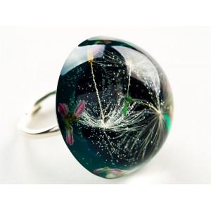 Pierścionek z dmuchawcem zielony srebrny
