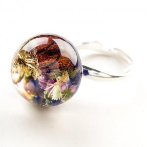 Pierścionek zaręczynowy niebieski z wrzosem i mchem 1