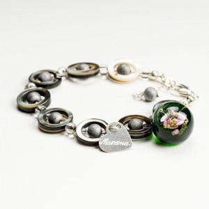 Srebrna bransoletka z grawerem ręcznie wykonana z zieloną zawieszką z wrzosem 2