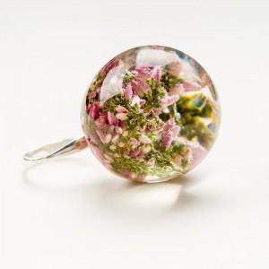 Pierścionki srebrne z kwiatami wrzosu