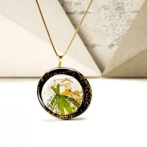 Łańcuszek z imieniem w zawieszce ręcznie malowanej złoto zielonej 2