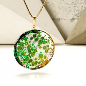 Biżuteria artystyczna zielony naszyjnik ręcznie malowany na pozłacanym łańcuszku 2