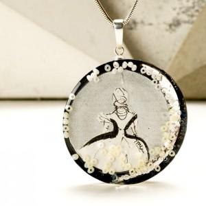 Srebrny naszyjnik z imieniem w okrągłej zawieszce, ręcznie malowana biżuteria artystyczna 1