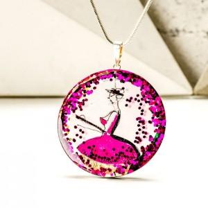 Biżuteria artystyczna naszyjnik z różową zawieszką ręcznie malowany, dwustronny z zielenią butelkową 1